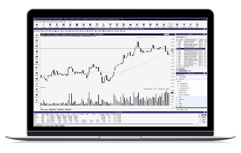 Laptop running Trade Navigator chart using Bollinger Bars and volume histogram